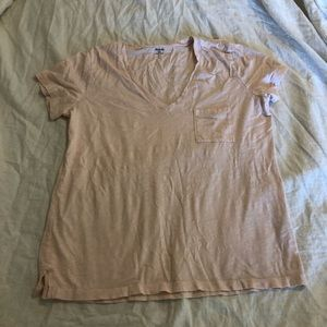madewell baby pink v-neck